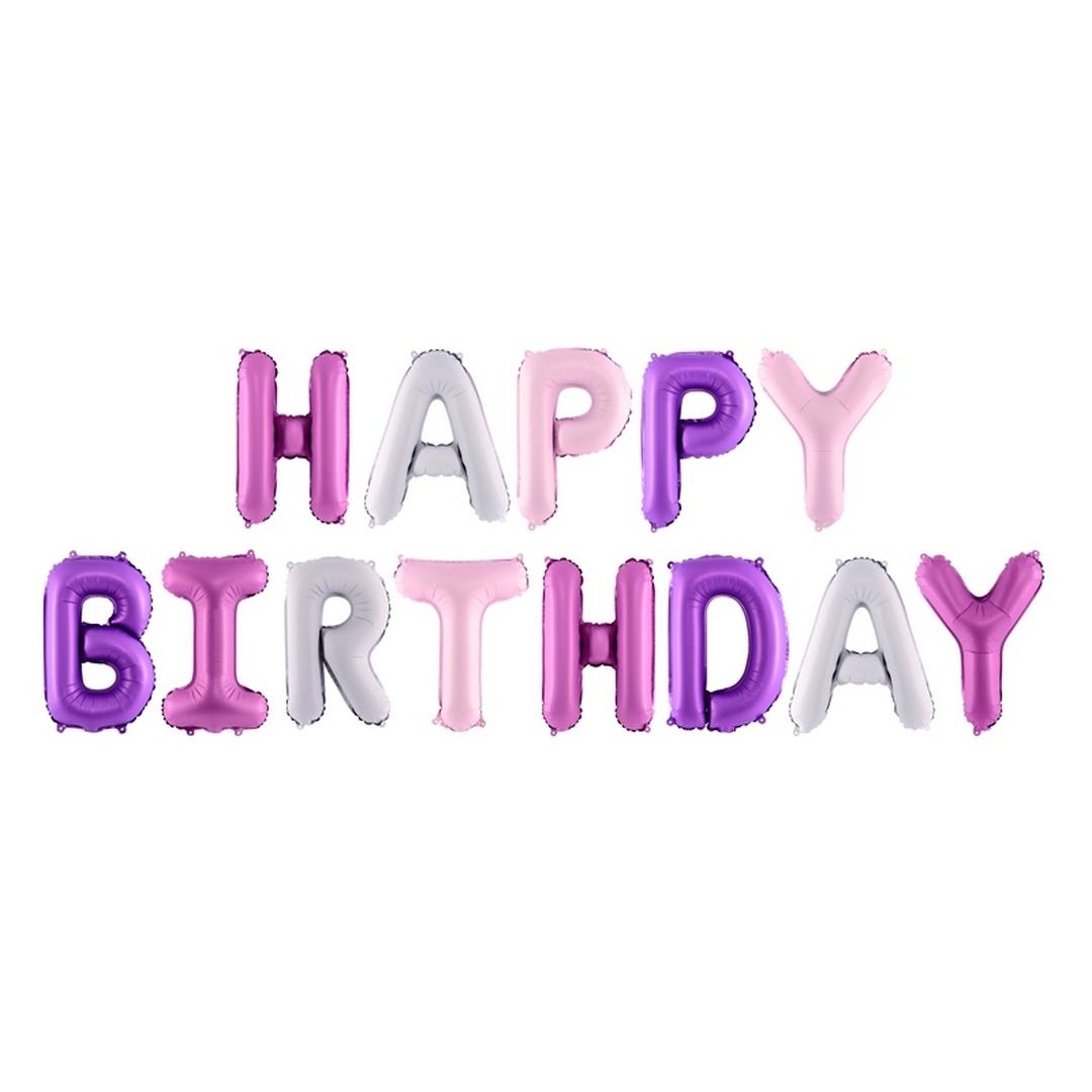 Zdjęcie slidera - BALONY foliowe Happy Birthday RÓŻOWE