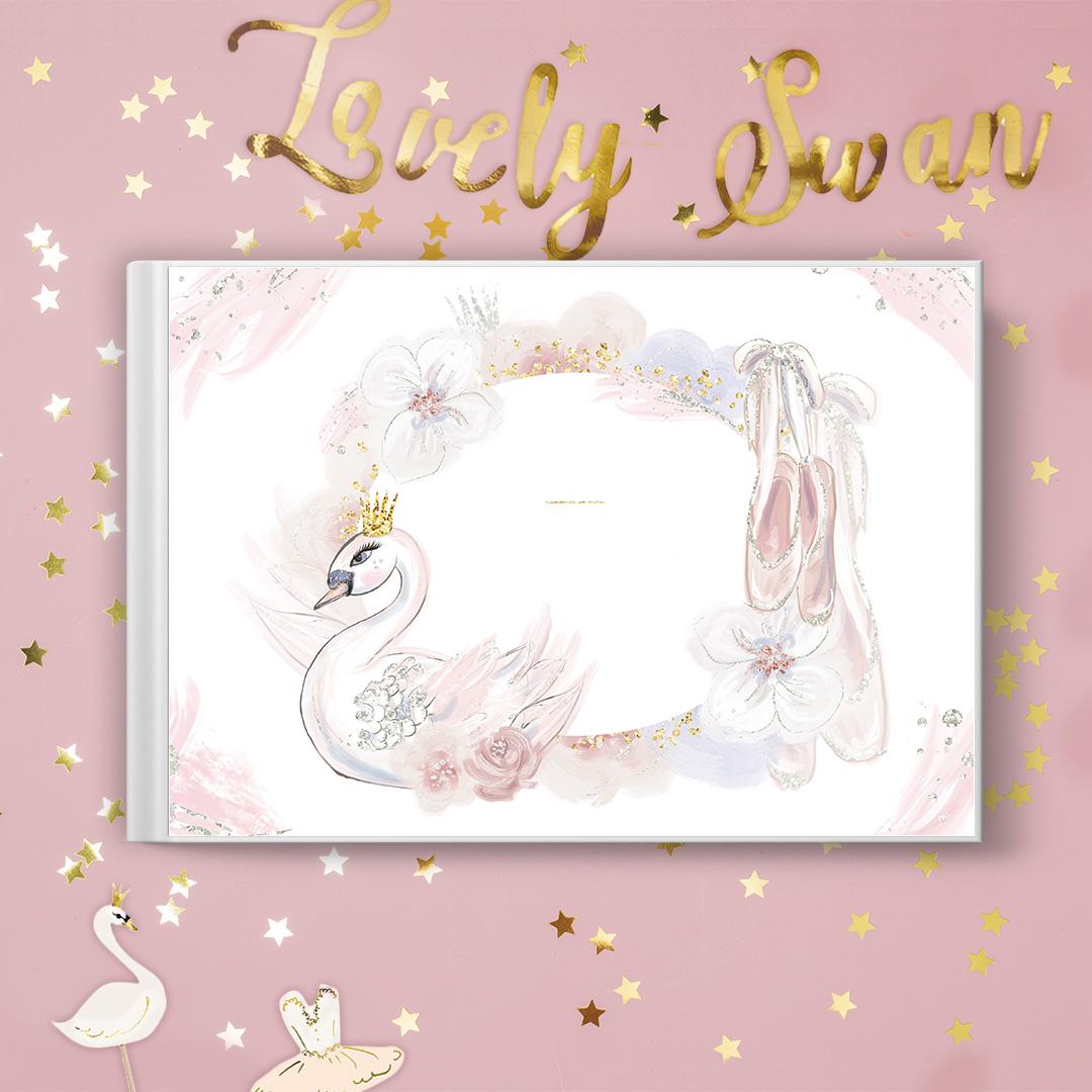 Zdjęcie slidera - KSIĘGA pamiątkowa Urodzinek Lovely Swan PERSONALIZOWANA