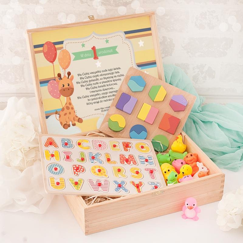 Zdjęcie slidera - ZESTAW Prezent na Roczek/Urodziny Zabawki Dziecięce PERSONALIZOWANY