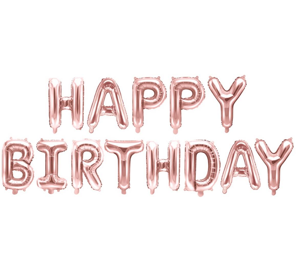 Zdjęcie slidera - BALONY foliowe Happy Birthday ROSE GOLD