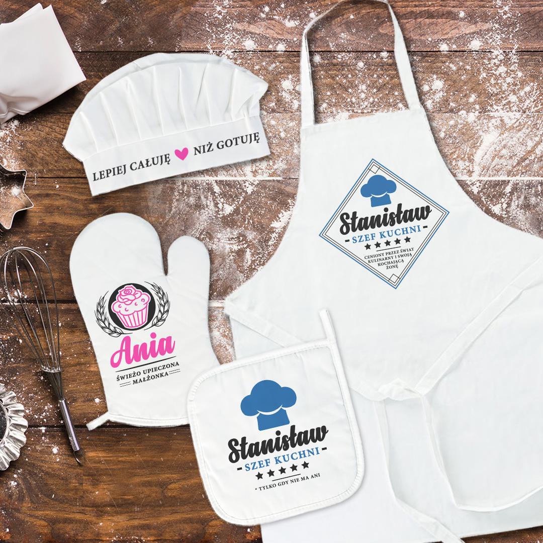 Zdjęcie slidera - PREZENT Dla Pary Młodej Zestaw kucharski różowoniebieski PERSONALIZOWANY