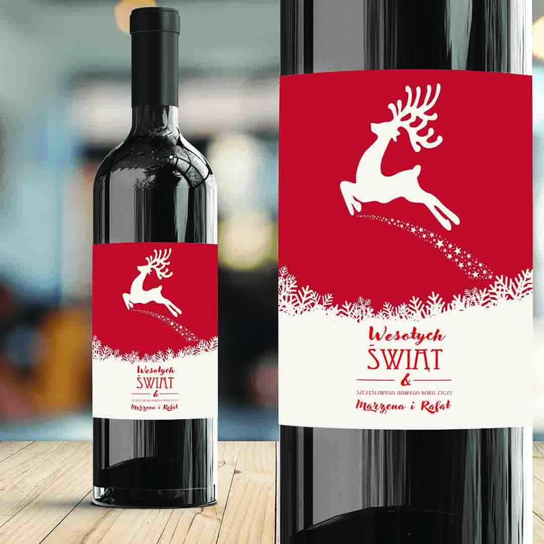 Zdjęcie w galerii - ETYKIETA na Wino Świąteczny Renifer PERSONALIZOWANA