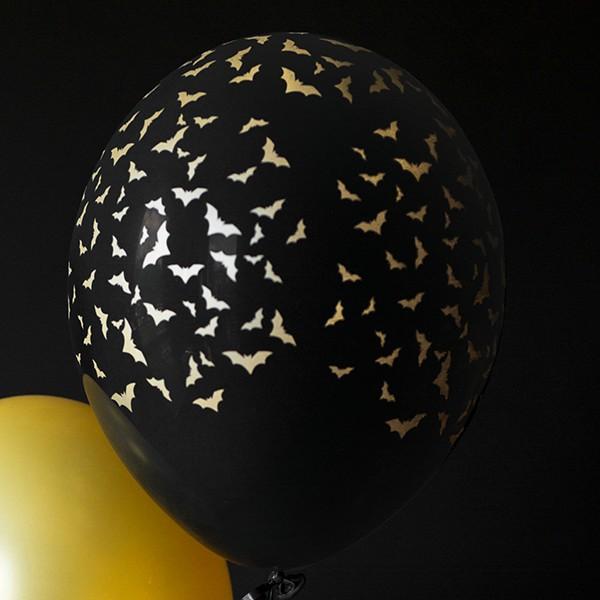 Zdjęcie slidera - BALONY czarne w złote nietoperze 6szt
