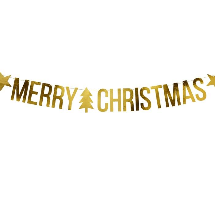 Zdjęcie w galerii - Baner Merry Christmas, złoty, 10,5x150cm