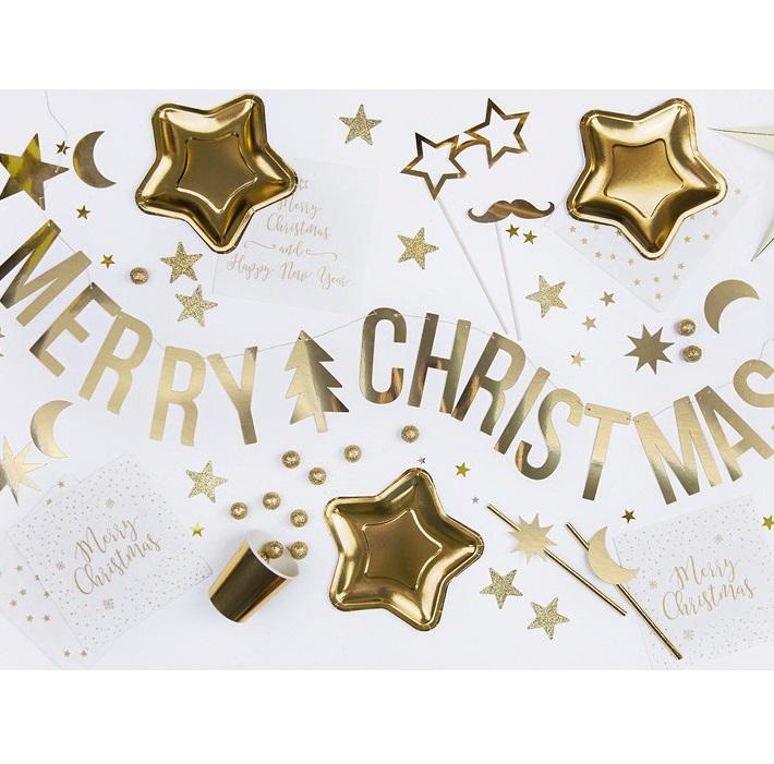 Zdjęcie slidera - Baner Merry Christmas, złoty, 10,5x150cm