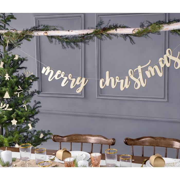 Zdjęcie slidera - DREWNIANY BANER Merry Christmas, 87x17cm