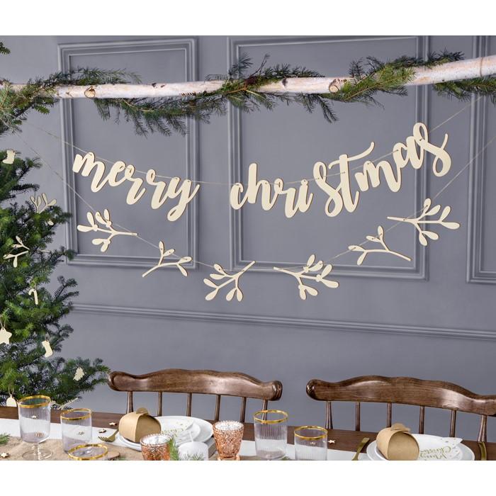 Zdjęcie w galerii - DREWNIANY BANER Merry Christmas, 87x17cm