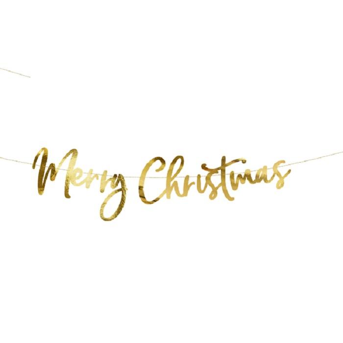 Zdjęcie w galerii - Baner Merry Christmas, złoty, 83×21,5cm