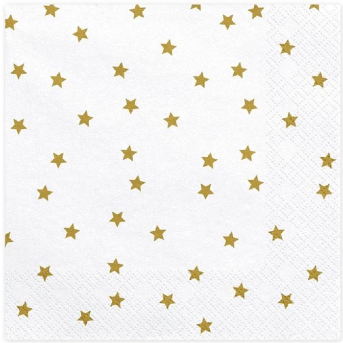 Zdjęcie slidera - Serwetki Gwiazdki, złoty, 33x33cm