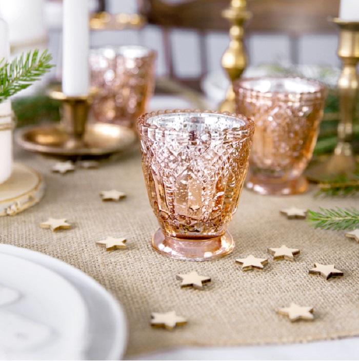 Zdjęcie slidera - ŚWIECZNIKI Urocze Kryształowe Różowe Złoto 4szt
