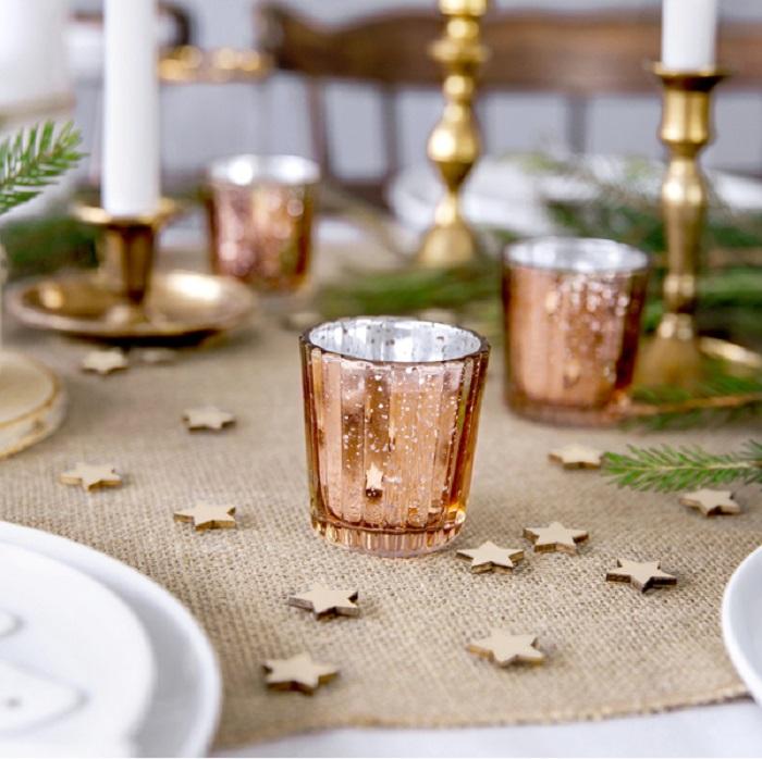 Zdjęcie slidera - ŚWIECZNIKI Nowoczesne Szklane Tealighty Różowe Złoto 4szt