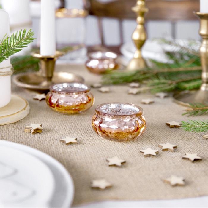 Zdjęcie w galerii - ŚWIECZNIKI Pękate Eleganckie Szklane Różowe Złoto 4szt