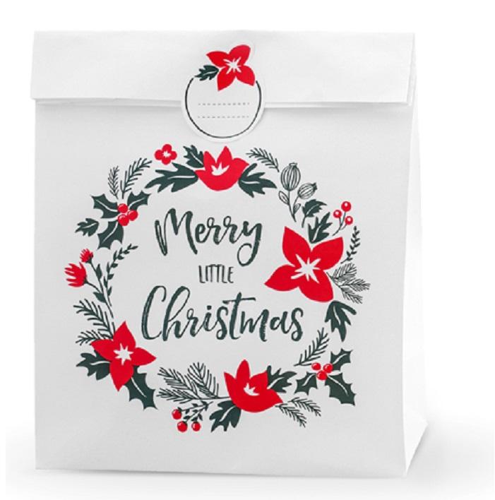 Zdjęcie w galerii - Torebki na prezenty Merry Little Christmas, biały, 25x11x27cm