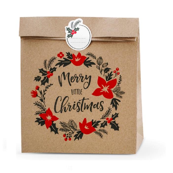 Zdjęcie w galerii - TOREBKI na prezenty Merry Little Christmas, kraft, 25x11x27cm