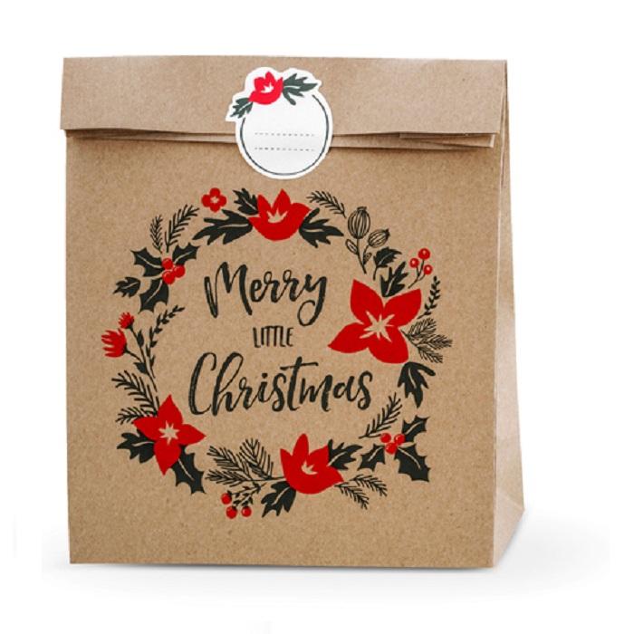 Zdjęcie slidera - TOREBKI na prezenty Merry Little Christmas, kraft, 25x11x27cm