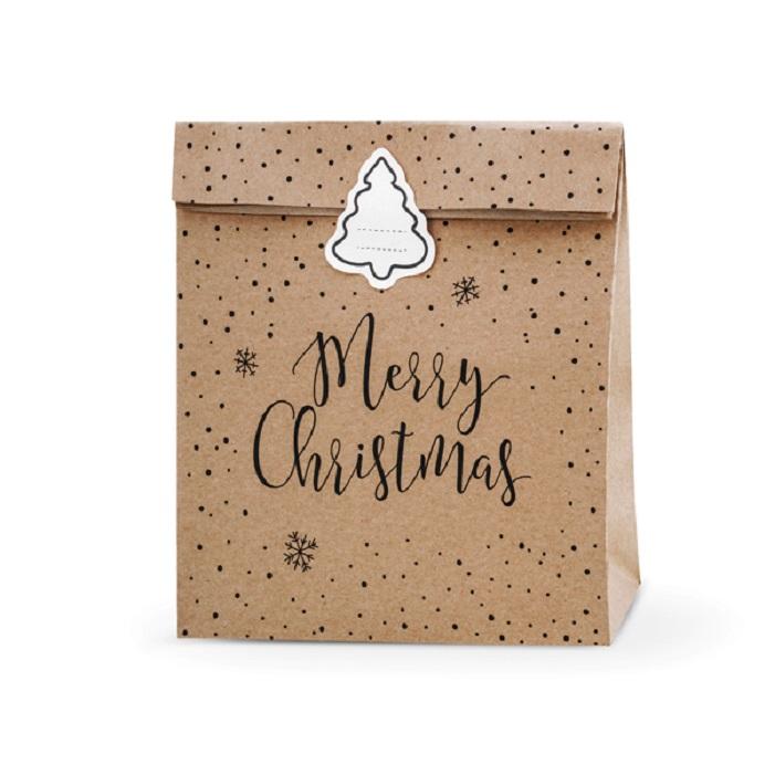 Zdjęcie slidera - Torebki na prezenty Merry Christmas, kraft, 25x11x27cm