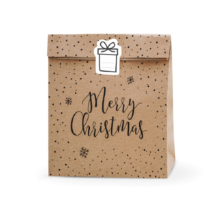Zdjęcie w galerii - Torebki na prezenty Merry Christmas, kraft, 25x11x27cm