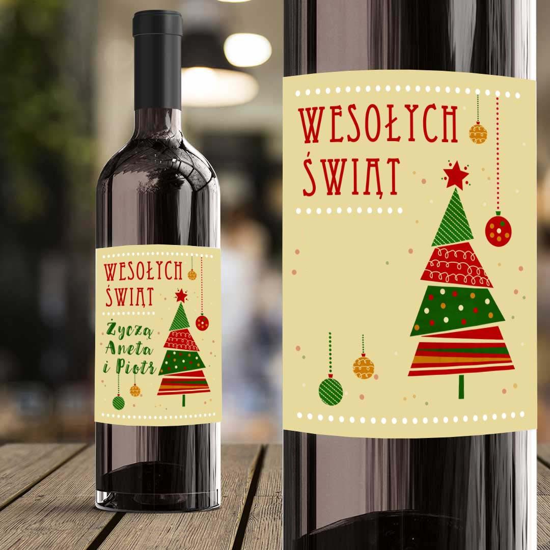 Zdjęcie slidera - ETYKIETA na Wino Choinka Prezent na Boże Narodzenie PERSONALIZOWANA