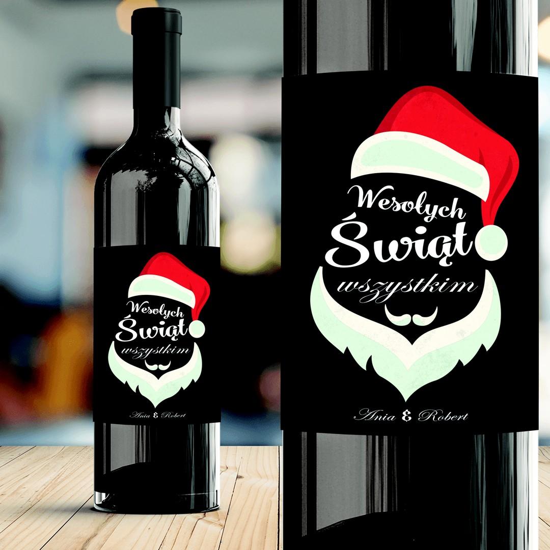 Zdjęcie w galerii - ETYKIETA na Wino Wesołych Świąt Prezent Świąteczny PERSONALIZOWANA