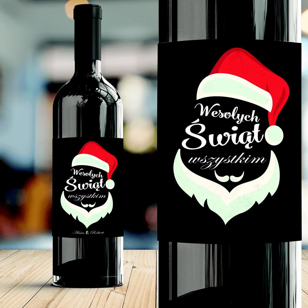 Zdjęcie slidera - ETYKIETA na Wino Wesołych Świąt Prezent Świąteczny PERSONALIZOWANA