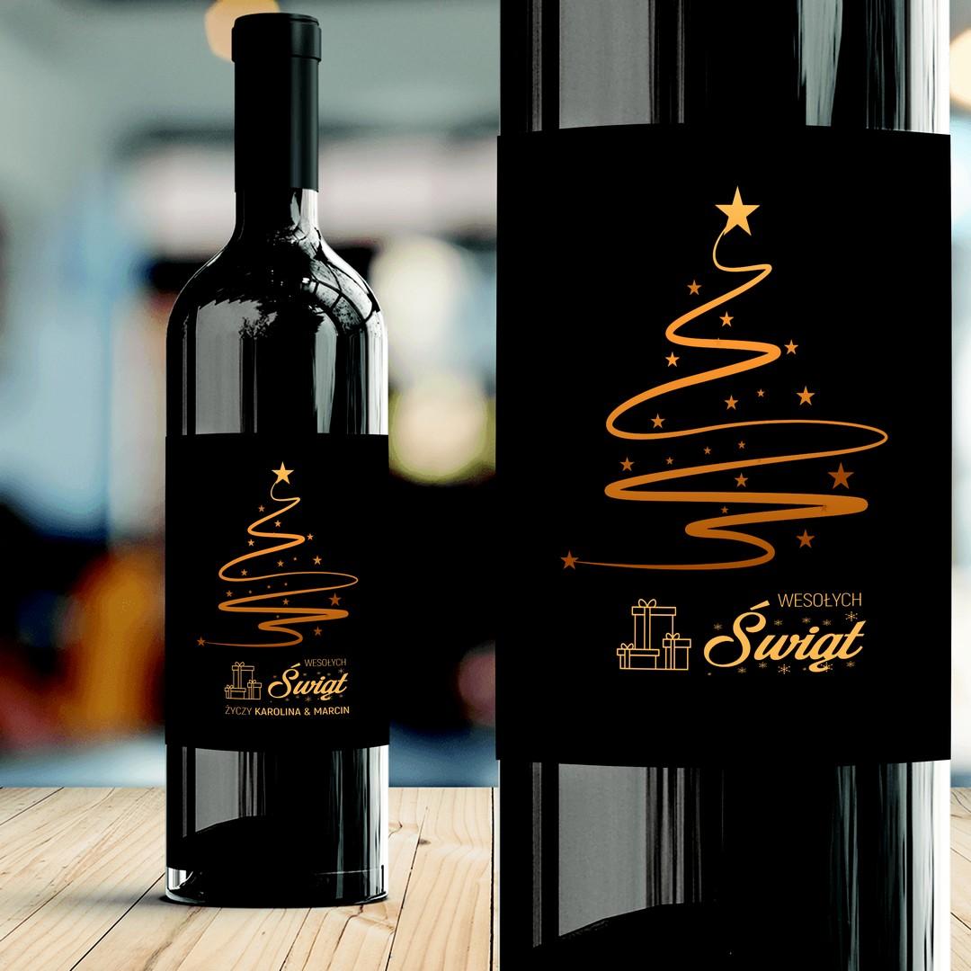 Zdjęcie slidera - ETYKIETA na Wino Elegancka Choinka Prezent na Boże Narodzenie PERSONALIZOWANA