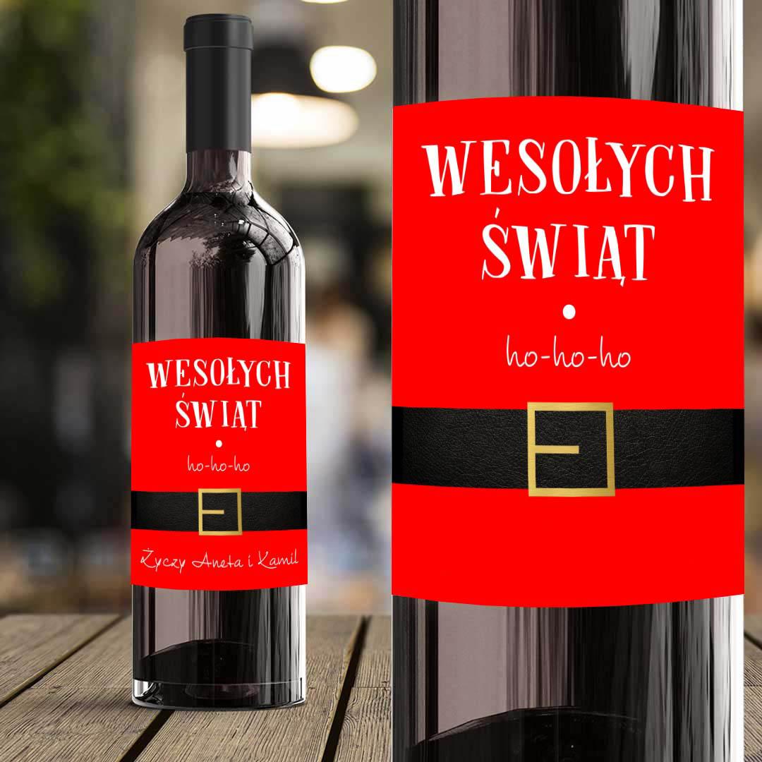 Zdjęcie slidera - ETYKIETA na wino Strój Mikołaja Prezent pod choinkę PERSONALIZOWANA