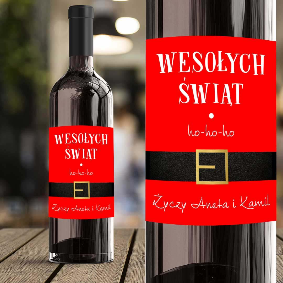 Zdjęcie w galerii - ETYKIETA na wino Strój Mikołaja Prezent pod choinkę PERSONALIZOWANA