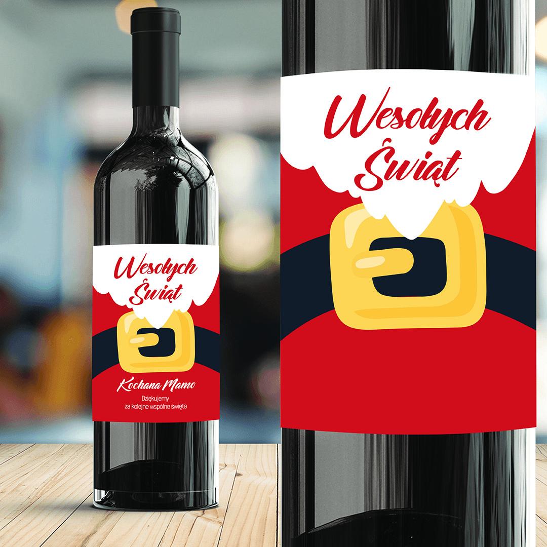 Zdjęcie slidera - ETYKIETA na Wino HoHoHo Prezent na Mikołajki/Święta PERSONALIZOWANA