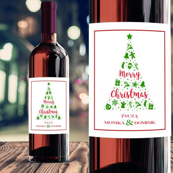 Zdjęcie w galerii - ETYKIETA na Wino Świąteczne Symbole Prezent pod Choinkę PERSONALIZOWANA