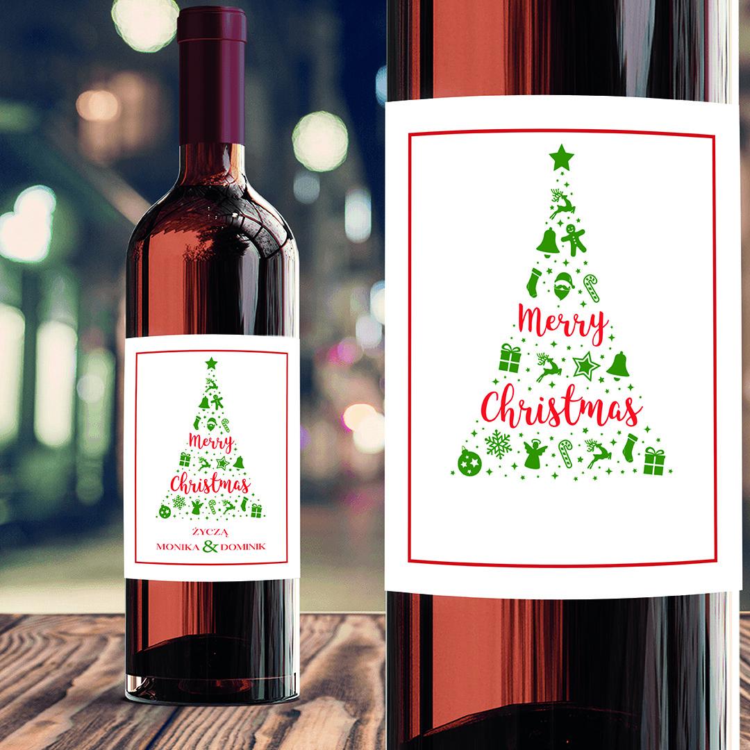 Zdjęcie slidera - ETYKIETA na Wino Świąteczne Symbole Prezent pod Choinkę PERSONALIZOWANA