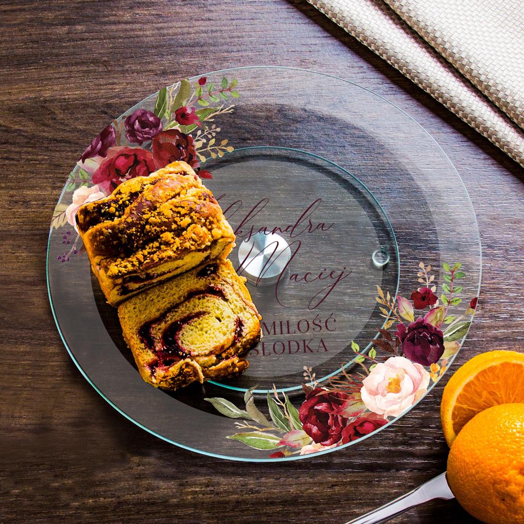 Zdjęcie w galerii - PATERA na ciasto Obracana Prezent dla Pary Młodej Marsala PERSONALIZOWANA