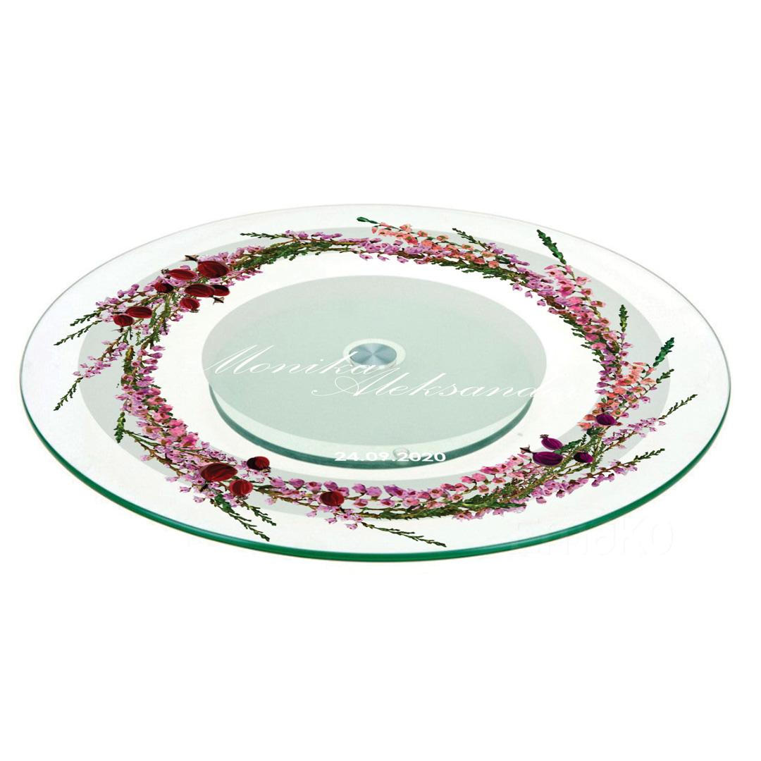 Zdjęcie w galerii - PATERA na ciasto Obracana Prezent dla Nowożeńców Polne Wrzosy PERSONALIZOWANA