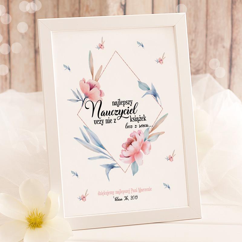 Zdjęcie slidera - PLAKAT Życzenia dla Nauczyciela w eleganckiej ramie PERSONALIZOWANY prezent na Dzień Nauczyciela