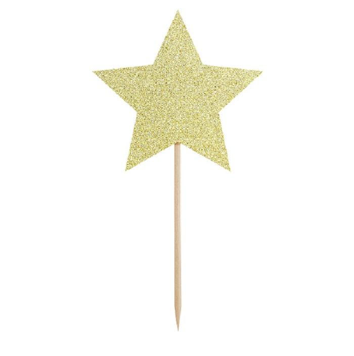 Zdjęcie w galerii - Pikery do muffinek – Gwiazdki, złoty, 11,5cm