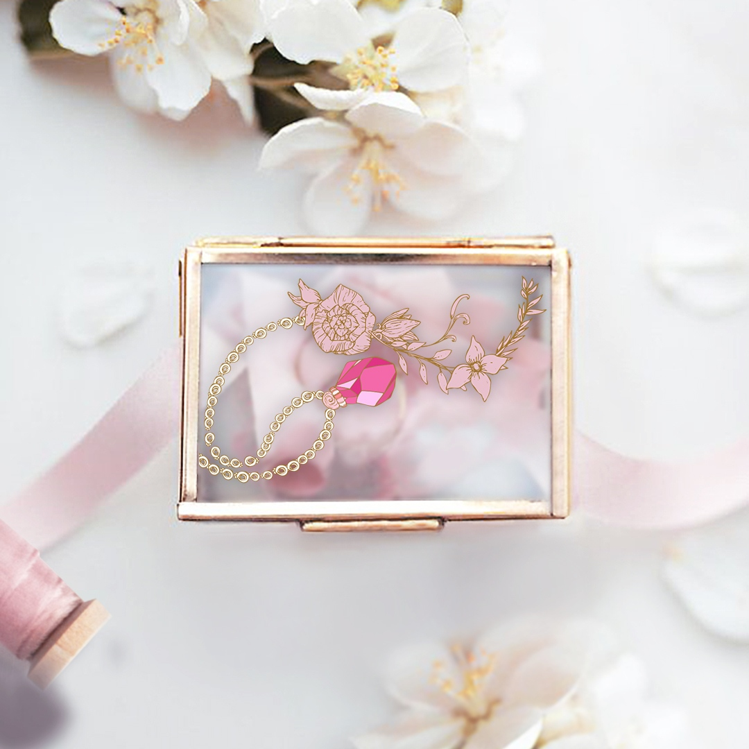 Zdjęcie slidera - SZKATUŁKA szklana na biżuterię Fuksjowy Klejnot PERSONALIZOWANA