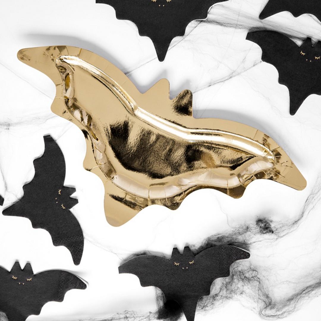 Zdjęcie slidera - TALERZYKI papierowe złote nietoperze 6szt