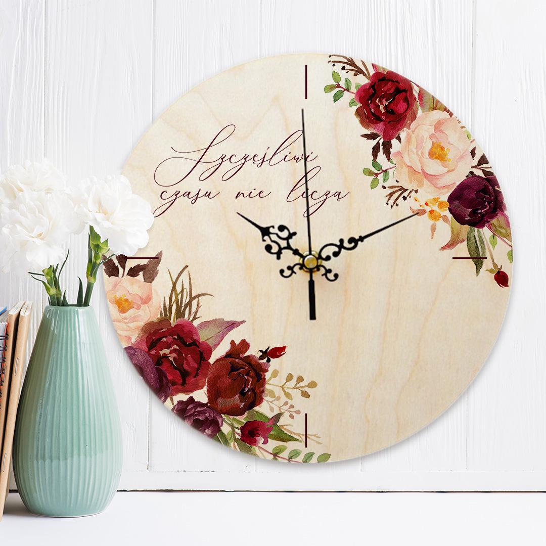 Zdjęcie slidera - ZEGAR drewniany Prezent na Ślub Marsala PERSONALIZOWANY