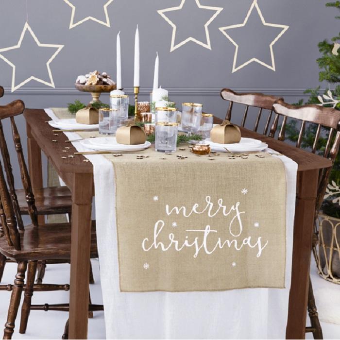 Zdjęcie slidera - Bieżnik jutowy Merry Christmas, biały, 50x250cm