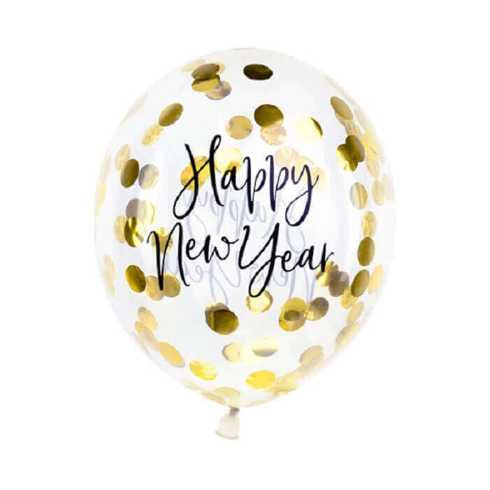 balon ozdobiony dwustronnym czarnym napisem Happy New Year