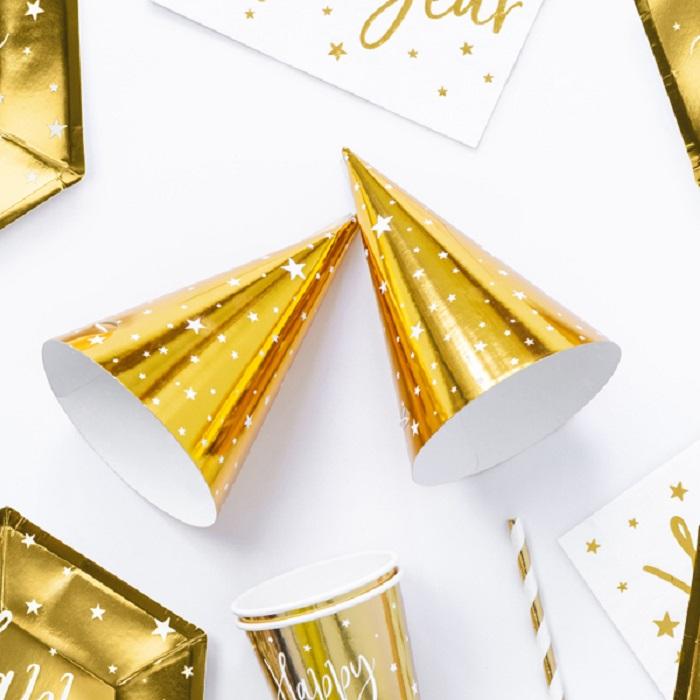 Czapeczki Gwiazdki wykonane zlaminowanej tektury w kolorze złotym metalizowanym z białym nadrukiem