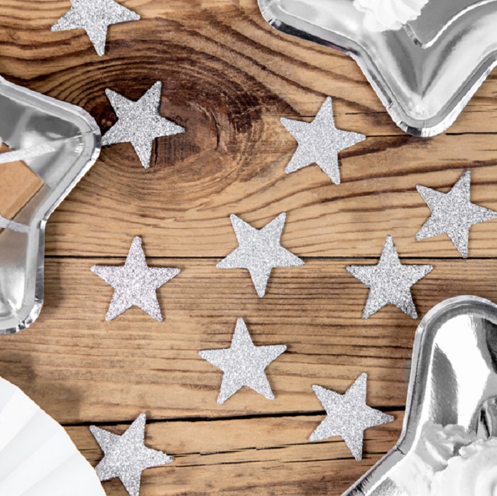 Zdjęcie slidera - GWIAZDKI dekoracyjne świąteczne złote/srebrne