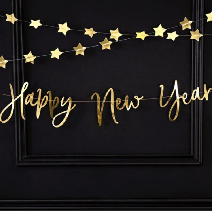 Piękny baner Happy New Year wykonany z papieru w kolorze złotym