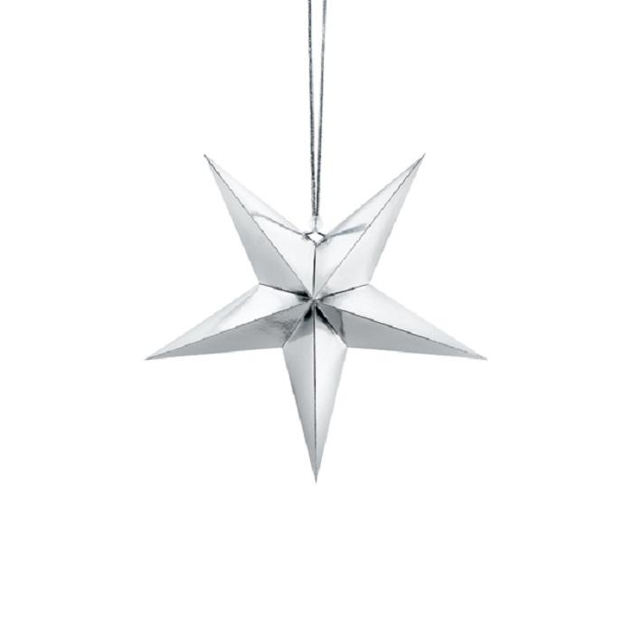 Zdjęcie w galerii - Gwiazda papierowa, dekoracja świąteczna 70cm, srebrny