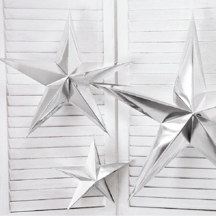 Zdjęcie slidera - Gwiazda papierowa, dekoracja świąteczna 70cm, srebrny