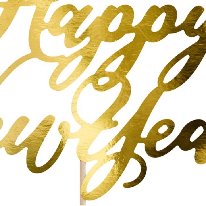 Zdjęcie w galerii - Topper na tort Happy New Year, złoty, 24cm