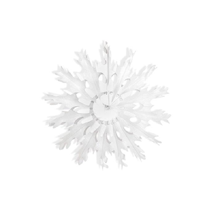 Zdjęcie w galerii - Rozeta bibułowa Śnieżynka, biały, 45cm