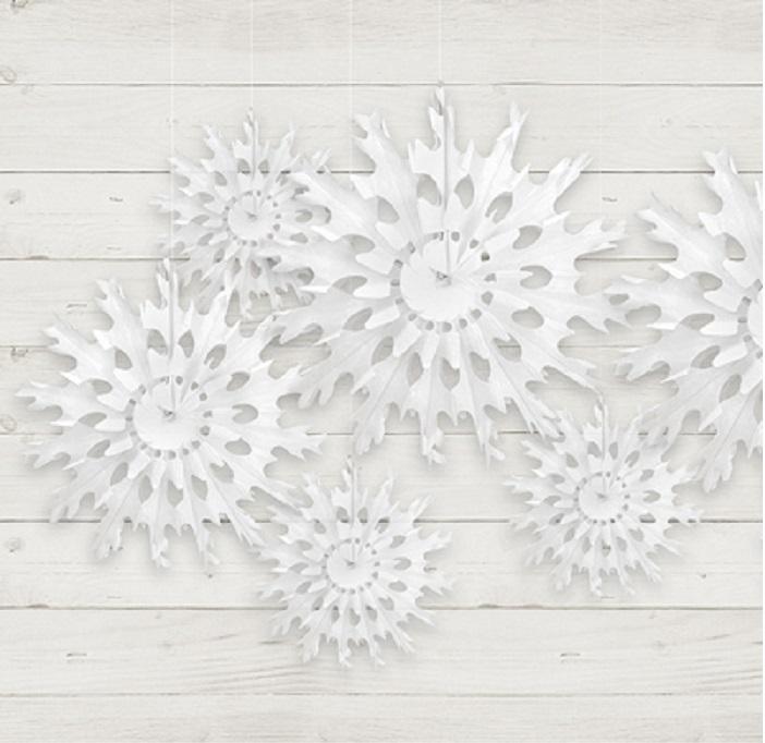 Zdjęcie slidera - Rozeta bibułowa Śnieżynka, biały, 45cm