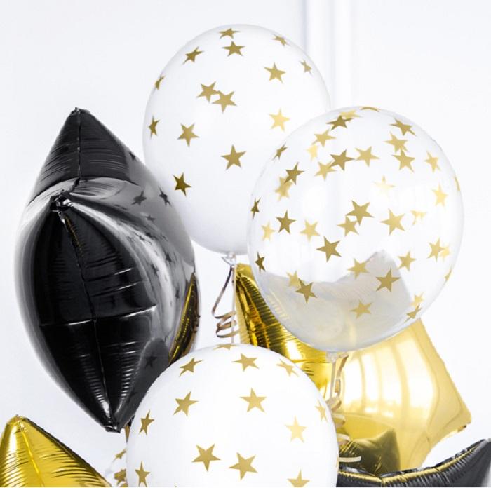balony Strong Gwiazdki w kolorze Crystal Clear, ze złotym pięciorstronnym nadrukiem