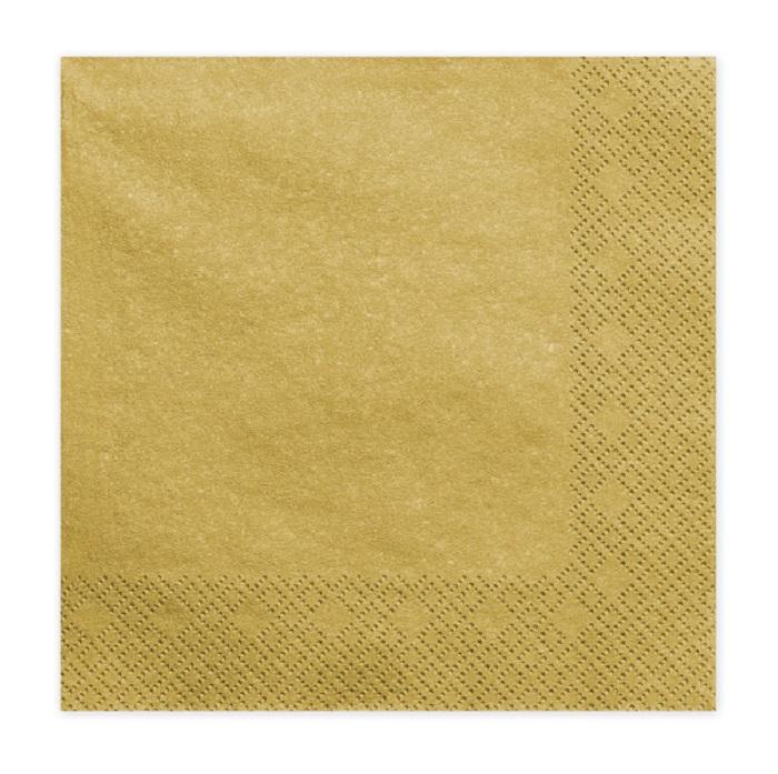 Zdjęcie w galerii - Serwetki trójwarstwowe, złoty met., 33x33cm, 20 szt