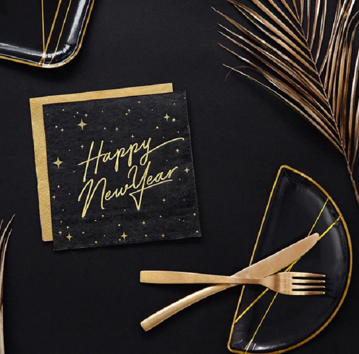Zdjęcie w galerii - Serwetki Happy New Year, czarny, 33x33cm, 20 szt.